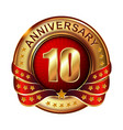 10 anniversary golden label with ribbon vector image vector image
