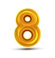 8 eight number golden yellow metal letter vector image vector image
