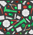 a seamless pattern with beads and tools vector image