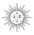 antique style sun hand drawn line art boho chic vector image vector image