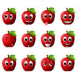 apple with different emoticons vector image vector image