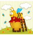 bee on a pot of honey vector image