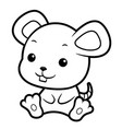 black and white mouse character sits forward vector image