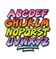 Bright cartoon comic graffiti doodle font alphabet vector image vector image