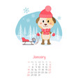 calendar 2018 months january with dog vector image
