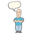cartoon annoyed bald man with speech bubble vector image