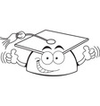 Cartoon graduation cap giving thumbs up vector image vector image