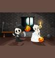 cartoon grim reaper and skull bride vector image