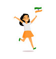 cartoon indian girl running with little indian vector image vector image