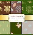 collection patterns of roses bouquets vector image vector image