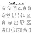 cooking icon set in thin line style vector image vector image