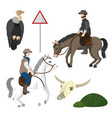 cowboys and desert elements vector image vector image