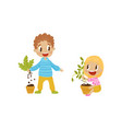 cute bully boy and girl tearng out house plants vector image