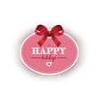 cute greeting card with red ribbon bow vector image vector image