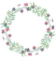 drawn watercolor greenery wreath vector image