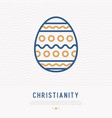 easter egg with ornament thin line icon vector image