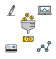 financial icons for business strategy vector image vector image