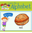 Flashcard letter N is for nut vector image vector image