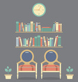 Flat Design Interior Vintage Chairs and Bookshelf vector image vector image