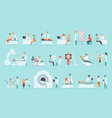 flat set people on medical examination vector image vector image