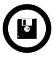 floppy disk icon black color in circle vector image