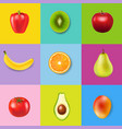 fresh fruits with colorful background vector image