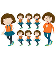 Girl with short hair in different actions vector image vector image