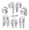 Hair styles sketch set vector image