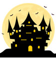 halloween castle bats full moon background vector image