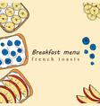 hand drawn of breakfast menu vector image