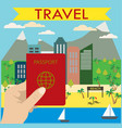hand holds a passport in the background beach city vector image vector image