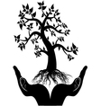 hand tree silhouette vector image
