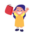 happy girl holding paper bag gift vector image