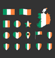 ireland flag icons set symbols flag of vector image