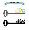 Key to sity Vintage key and city buildings Office vector image vector image