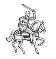 knight in armor on horseback medieval heraldry vector image vector image