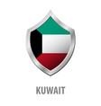 kuwait flag on metal shiny shield vector image