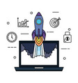 laptop with rocket and business set icons vector image vector image