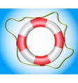 Lifebuoy with rope on blue background vector image