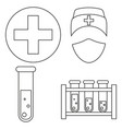line art black and white blood testing icon set vector image