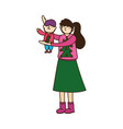 merry christmas mother carrying little son vector image