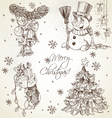 Merry Christmas vintage sketch draw set vector image vector image