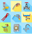 plumbing trouble icons set flat style vector image vector image