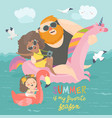 sea time cute family enjoy summer vacation vector image