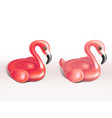 set of inflatable flamingo rubber rings vector image vector image