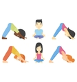 set of men and women practicing yoga vector image