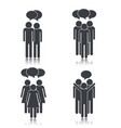 set social people group with chat bubbles vector image