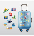 set traveling stamps and luggage vector image vector image
