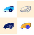 smart lawn mower icon set in flat and line style vector image