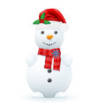 snowman in a red santa claus hat vector image vector image